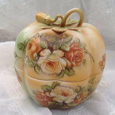R S Prussia Autumn Roses Pumpkin Jar Dimensional Vine Lid on Etsy, $78.00