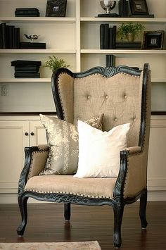 adorable raw linen wing chair....you would so enjoy this chair & its look