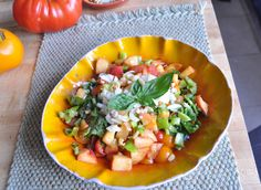 Tomato Peach Salsa  Ingredients:  - Mixed variety of tomatoes from garden   (little red, orange, yellow and purple ones halved)   - 1 Peach, diced  - approx 1/8 cup of finely chopped onion  - hot pepper finely chopped  - fresh basil & cilantro to taste  - garlic  - lemon or lime juice  - ginger (optional)  - dash of flax oil