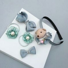 5 Pcs/set Bowknot Hairpins High Quality Hair Accessories Girls Elastic hair bands Children Hair Clips Headwear Hairbands T20