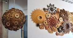 LA-based sculptor Joshua Abarbanel fabricates wood sculptures and installations reminiscent of coral reefs comprised of concentric flower-like blooms. The artist builds both smaller standalone artworks that rest on a pedestal and larger wall or ceiling-mounted pieces that seem to grow organicall