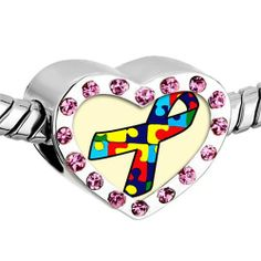 Pugster Pink Swarovski Crystal Jigsaw Puzzle Ribbon Awareness Photo Heart Silver Plated Beads Fits Pandora Charm Chamilia Biagi Bracelet Pugster. $16.49. Size (mm): 12.95*7.4*10.31. Weight (gram): 2.8. Metal: Crystal. Color: Pink