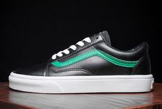 3bb00d46e2 Black Leather Vans Old Skool Green Stripe Skate Shoes  Vans Australia