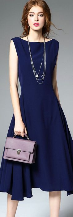 Navy Blue Boat Neck Midi Dress