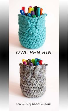 CROCHET PATTERN - OWL BASKET BIN PEN HOLDER HOME ORGANIZER