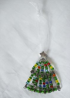 Beaded Safety Pin Christmas Tree