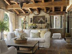 Tuscan veranda/loggia, rustic, open beams, stone floor... @Sabra Libertore
