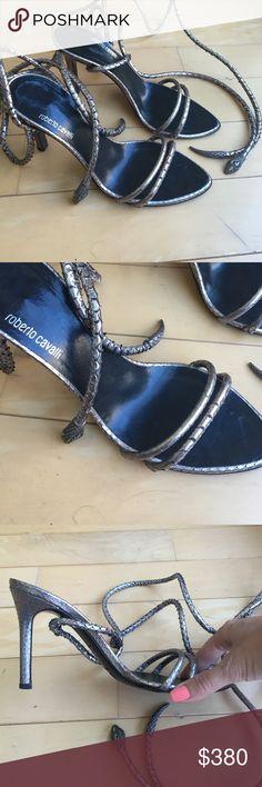 d5deedfbfa6d Roberto Cavalli snake wrap pewter heels size 36.5 Pewter color Roberto  Cavalli designer snake skin print