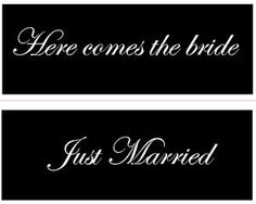 """Here comes the bride by CreateYourWoodSign.com  Hand painted wood sign  2 SIDED SIGN  The size is 20"""" by 8""""  The background is black with white lettering  The font is edwardian script  Distressed   NO outdoor protection  NO border  Our wooden plaques are created for enduring quality. Because we never use vinyl stickers on our wooden signs, you can expect the writing to last forever."""