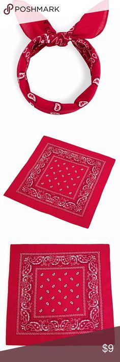 🌟🌟Bandana🌟🌟 Length(inch):20.9inch Width(inch):20.9inch Color:Red Style:Casual Pattern Type:Print Type:Bandana Material:Cotton Blends Accessories Hair Accessories