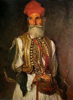 Portrait of Christos Kapsalis, oil painting on canvas by Polychronis Lembesis, 1 8562 Oil Painting On Canvas, Painting & Drawing, Caucasian Race, Greek Independence, Greek Warrior, Central And Eastern Europe, Exotic Art, Greek History, Military History
