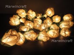 35 White Rose Flower Fairy String Lights Wedding by marwincraft, $16.50