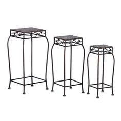 Display your indoor plants at different heights with the French Market Plant Stand Set