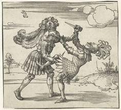 Twee ridders in gevecht and Freydal | Albrecht Dürer | 1517 - 1518 | Rijksmuseum | Public Domain Marked
