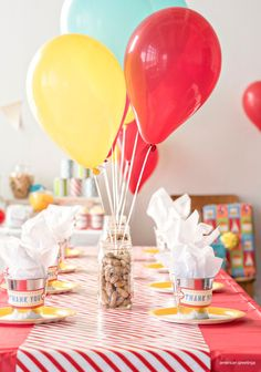 carnival birthday party centerpieces but with pop corn kernels instead of peanuts (allergies). Carnival Party Centerpieces, Carnival Themed Party, Birthday Centerpieces, Carnival Birthday Parties, First Birthday Parties, Birthday Party Themes, Carnival Birthday Invitations, Carnival Decorations, Carnival Ideas