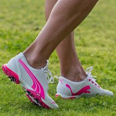 My mom's hobby: golf and the fun shoes that go with it! Puma BIOFUSION Women's Golf Shoe in White/Fluo Best Golf Clubs, Golf Clubs For Sale, Golf Attire, Golf Outfit, Discount Golf Shoes, White Golf Shoes, Golfer, Womens Golf Shoes, Shoes Women