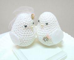White Wedding Cake Topper birds / Wedding Birds by MAVECROCHET