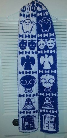 Knitting Pattern Name: Doctor Who Scarf Pattern by: Jeanene Hammers Knitting Charts, Baby Knitting Patterns, Knitting Stitches, Crochet Patterns, Fun Patterns, Knitting Ideas, Double Knitting, Lace Knitting, Doctor Who Knitting
