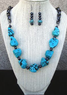 Turquoise and Hematite Necklace with by LolasCustomJewelry on Etsy, $59.00