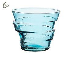 Set de 6 vasos de vidrio ecológico - turquesa