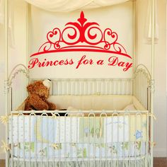 Wall decal decor decals princess for a day crown nursery inscription letter cartoon cheerful girl story gift Wall Decal Sticker, Wall Stickers, Zentangle Patterns, Zentangles, Cribs, Nursery, Lettering, Cartoon, Interior Design