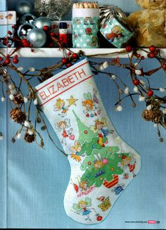 Fairy cross stitch Christmas stocking 3