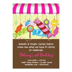 388 best 4th birthday party invitations images on pinterest 4th candy shoppe birthday invitation filmwisefo