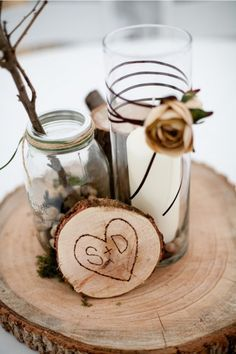 one with nature, country wedding ideas, fall wedding, DIY centerpieces Wood Centerpieces, Wedding Centerpieces, Wedding Table, Wedding Reception, Wedding Decorations, Table Decorations, Centerpiece Ideas, Flower Centerpieces, Wedding Themes