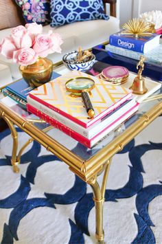 gold sprayed cane table