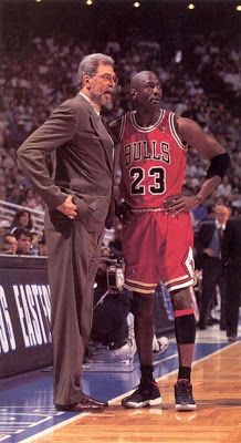 Michael Jordan and the coach of the Chicago Bulls, Phil Jackson. The two teamed together in the for six NBA championships. Michael Jordan Basketball, Love And Basketball, Sports Basketball, Basketball Players, Jordan 23, College Basketball, Basketball Tickets, Basketball Socks, Kentucky Basketball