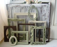 Sage Green Cream and Brown Frame Set  Vintage by WillowsEndCottage