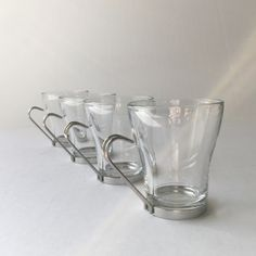 Vintage Luigi Bormioli Glass Espresso Cups with Removable Stainless Holders, Hot Tea or Coffee Glass Mugs, Clear Glass Espresso Cups or Mugs by AlegriaCollection on Etsy