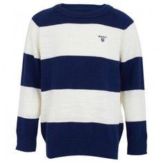 Gant Boys Navy and Cream Stripe Knit Jumper | AlexandAlexa