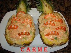 Pineapple cocktail stuffed with seafood and monkfish - Ensalada Marisco Ideas Nut Recipes, Mexican Food Recipes, Ethnic Recipes, Yummy Recipes, Recipies, Seafood Recipes, Appetizer Recipes, Appetizers, Patty Food