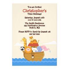 Cute Noah's Ark Gender Neutral Birthday Invitation