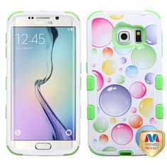 MYBATRainbow Bigger Bubbles/Electric Green TUFF Hybrid Phone Protector Cover-G925 (Galaxy S6 Edge) Hybrid Protector Covers TUFF Hybrid Protector Covers