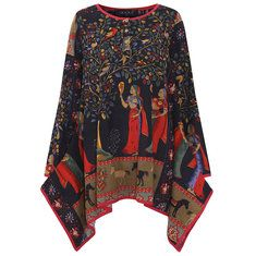 Gracila Women Folk Style Printed Buttons Long Sleeve Pocket Spring Blouses Cheap - NewChic Mobile