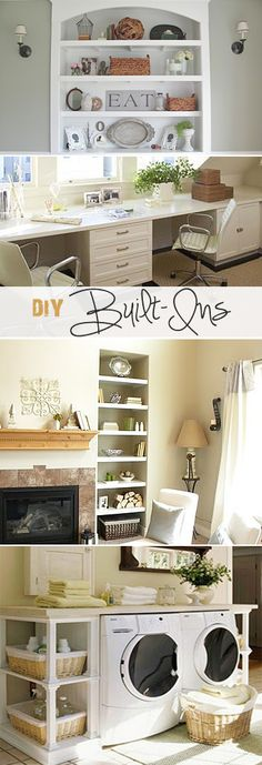 DIY Built-Ins • Ideas & Tutorials! • Living in a small home can create challenges in both storage and decorating… built-ins solve both problems by using wasted floor space to create seating areas, storage and places to display your decor and mementos. And yes, you can build these yourself!