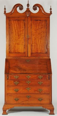 18th Century Philadelphia secretary desk, which is also sometimes called Desk & Bookcase because early models had a detachable top or they were simply a combination of a slant-top desk with a book case of appropriate size.