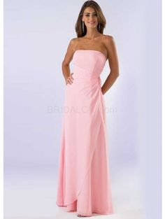 Pink A-line Strapless Floor Length Chiffon Junior Bridesmaid Dress