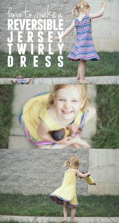 Gleeful fabrics // DIY reversible spin and twirl dress!