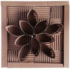 Cardboard squares and paper towel roll. #cardboard #artprojectsforkids