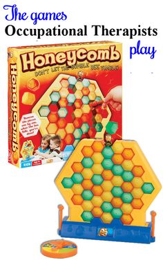 Build a honeycomb. Push out the pieces one at a time. Don't let the bumblebee fall! Work on manual dexterity, spatial relations, finger dexterity, visual discrimination, finger isolation, tactile perception, figure ground, bilateral hand use. Visit my blog at The Playful Otter to learn different ways to play this game.