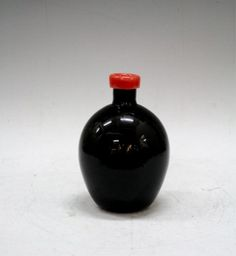 Murano Glass Black Vase with Red Rim : Lot 425