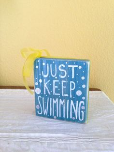 Just Keep Swimming Finding Nemo Wood Block Shelf by GiftsbyGaby, $12.00