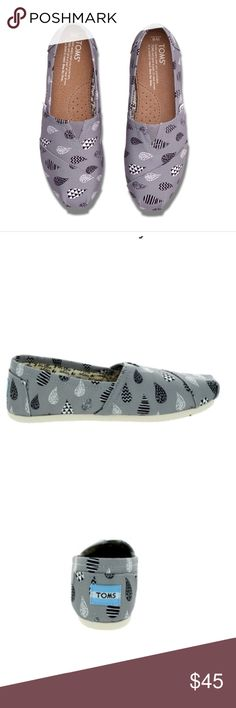 TOMS raindrop gray canvas New! Very very light wear on bottom from being tried on inside! These are a pretty dope print pattern TOMS Shoes
