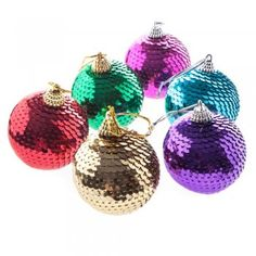 Christmas Pack of 6 Sequin Bauble Decorations