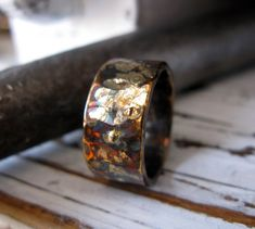 Rustic Mens Wedding Band Oxidized Sterling Silver and Yellow