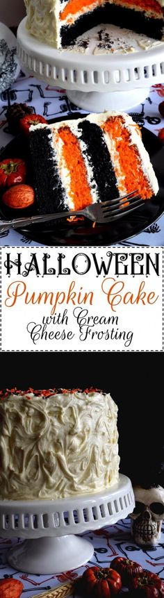 Halloween Pumpkin Cake with Cream Cheese Frosting - What's Halloween without black and orange? This cake, although simple to make, looks super impressive. Halloween Pumpkin Cake with Cream Cheese Frosting will surely impress all of your favourite little Halloween Desserts, Menu Halloween, Halloween Cakes, Halloween Treats, Halloween Recipe, Halloween Pumpkins, Köstliche Desserts, Holiday Desserts, Cake Toppers