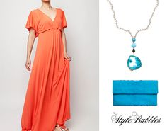 Coral theme with sparkles of turquoise!!! Stefanie dress by Yiorgos Koulasidis Drama Queen, Python clutch by Treis and agate Rosario by Liza's Little Things!!!  Shop online on sale -30% #StyleBubbles #fashion #onlineshopping